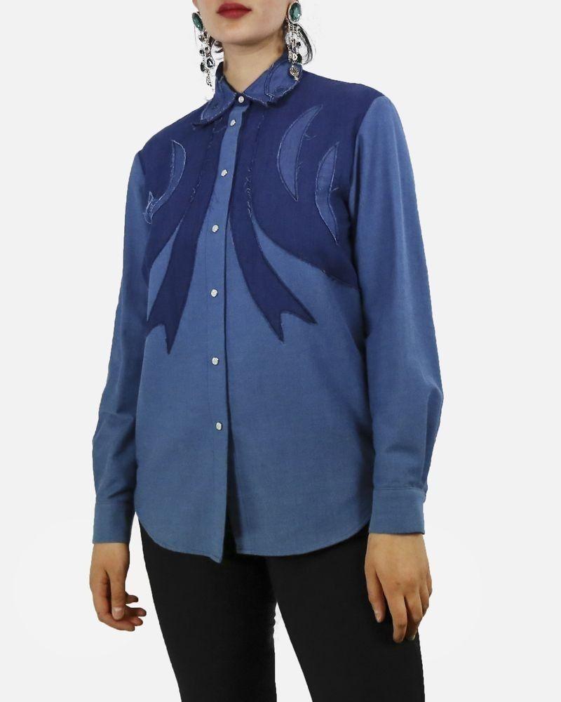 Chemise en jean bleu à patchwork Missoni