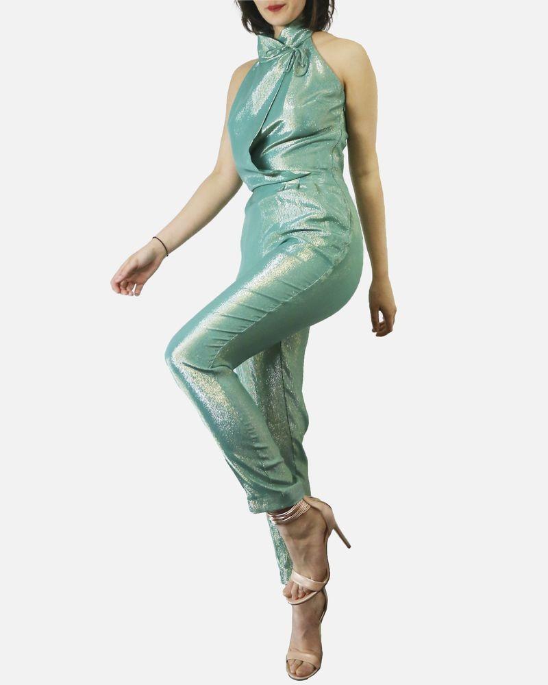 Combinaison en crêpes de soie lamée verte Space Style Concept