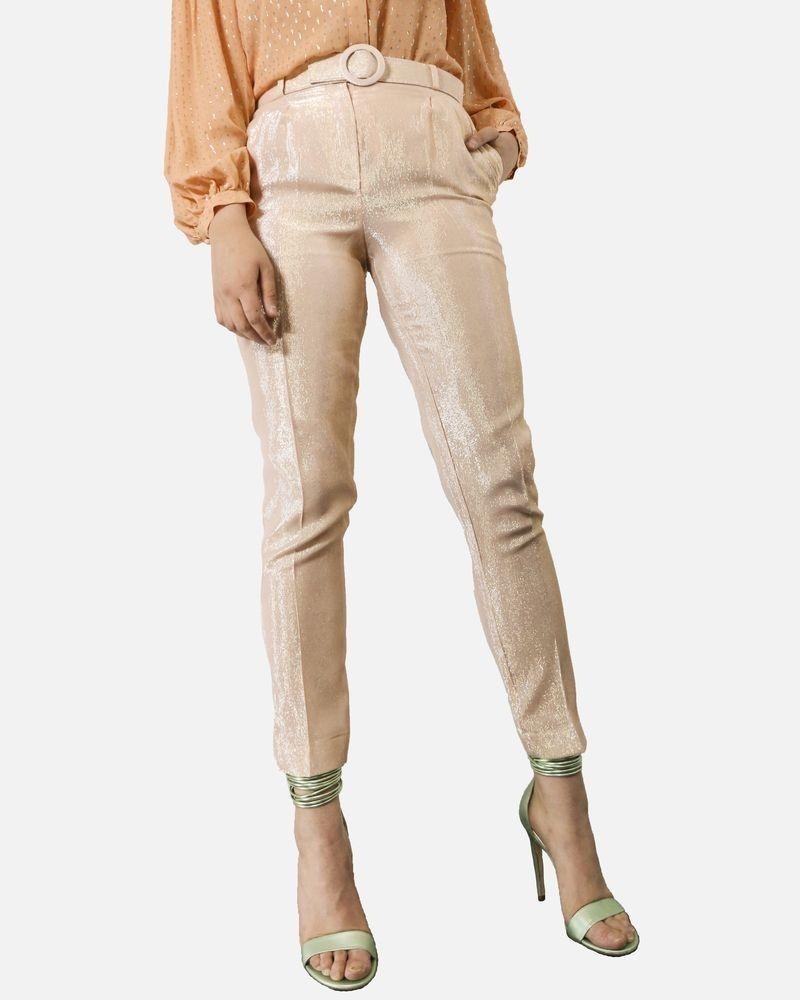 Pantalon en crêpes de soie lamée saumon Space Style Concept