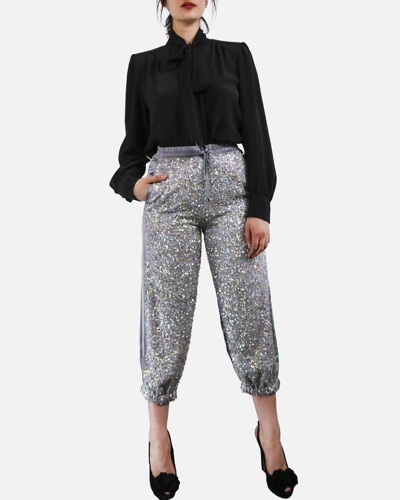 Pantalon de jogging gris à sequins Isabelle Blanche