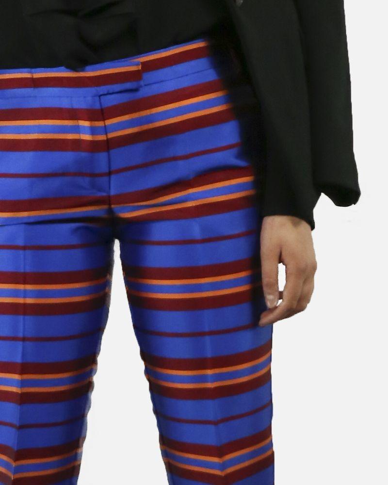 Pantalon cigarette bleu à rayure rouge & orange Space Style Concept