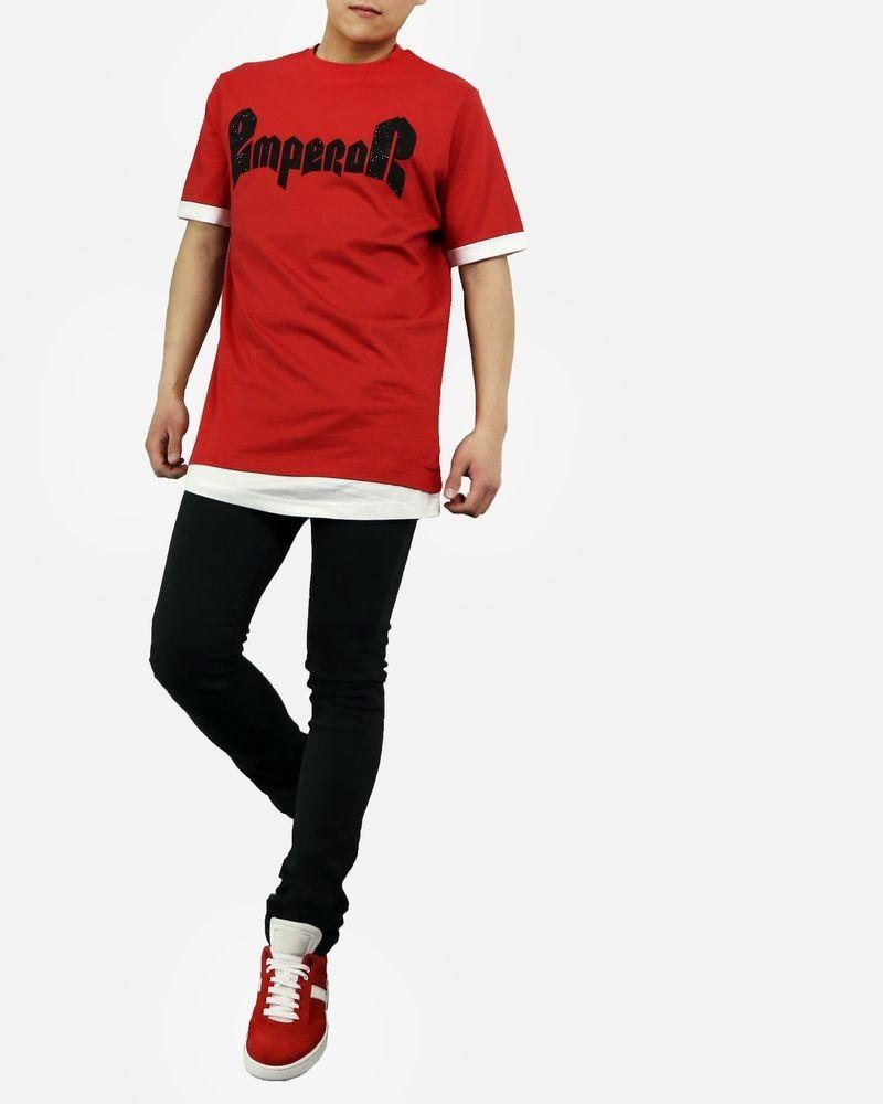 T-Shirt rouge oversise à double ourlet John Richmond