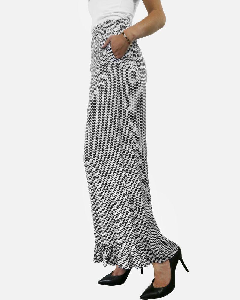 Pantalon en satin blanc à pois noir & volant Isabelle Blanche