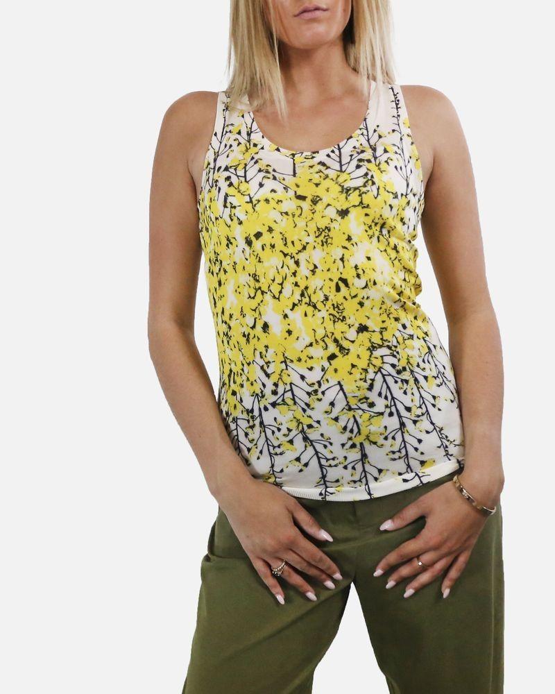 Débardeur en soie beige à fleur jaune Giambattista Valli
