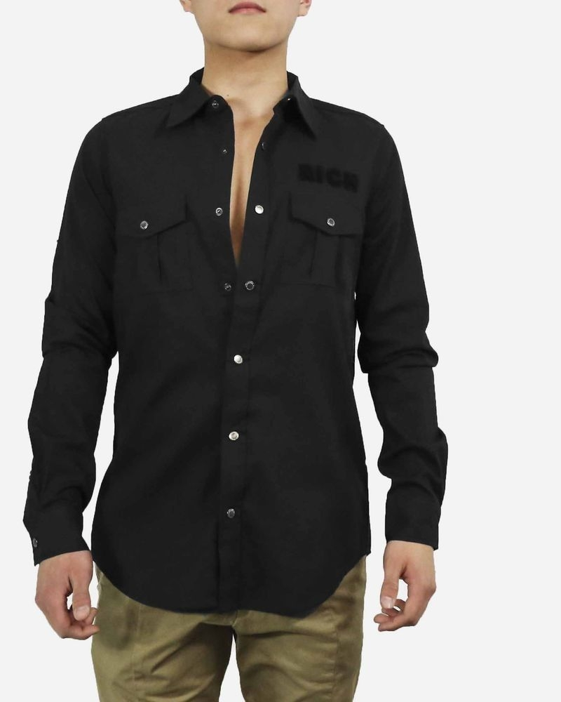 Chemise noire à poche poitrine John Richmond