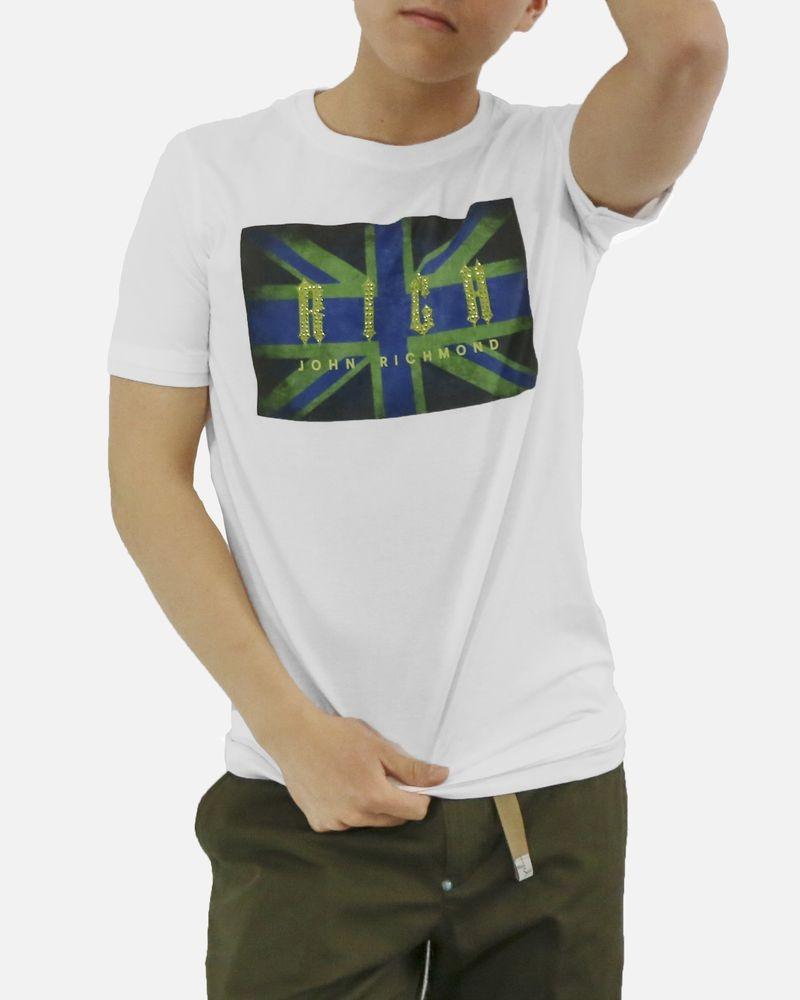 T-Shirt en coton blanc à strass John Richmond