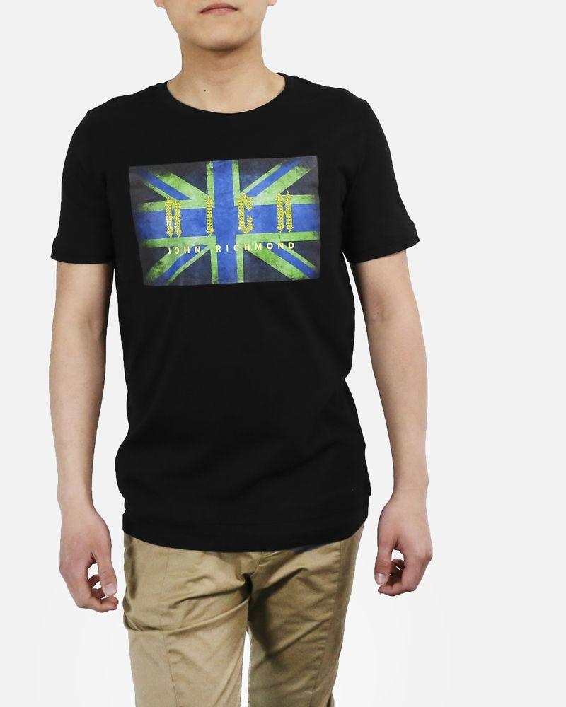 T-Shirt en coton noir à strass John Richmond