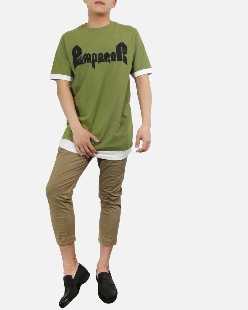 T-Shirt kaki oversise à double ourlet John Richmond