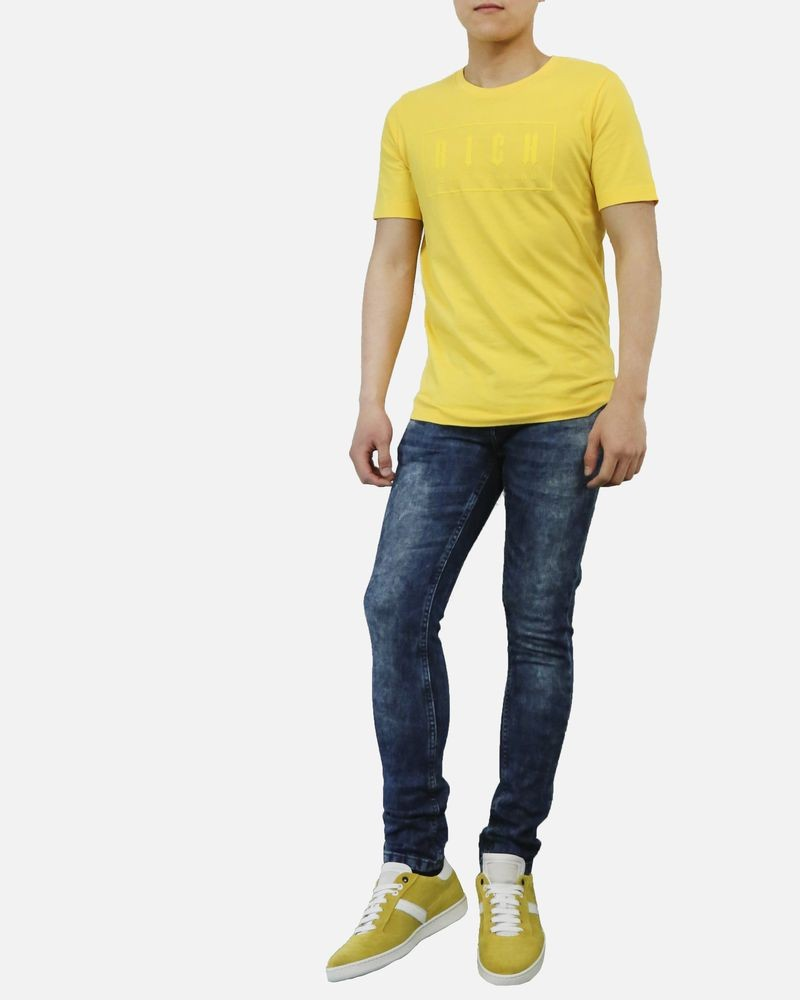 T-Shirt en coton jaune John Richmond