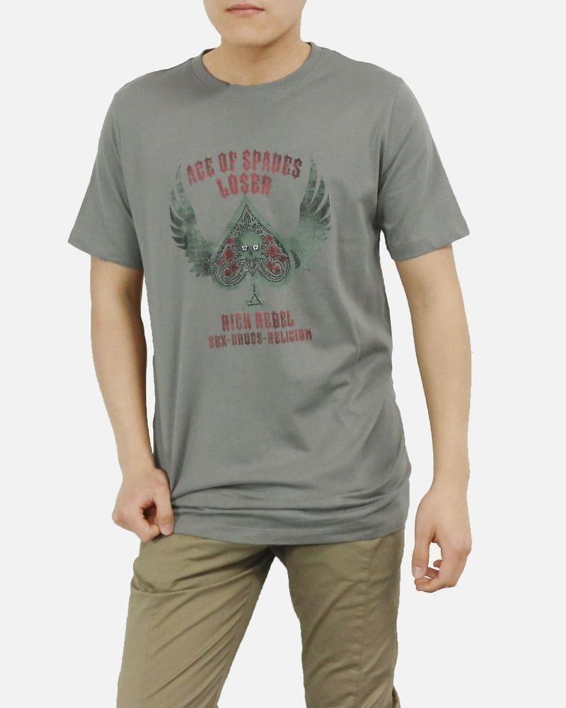 T-Shirt en coton gris à tète de mort John Richmond