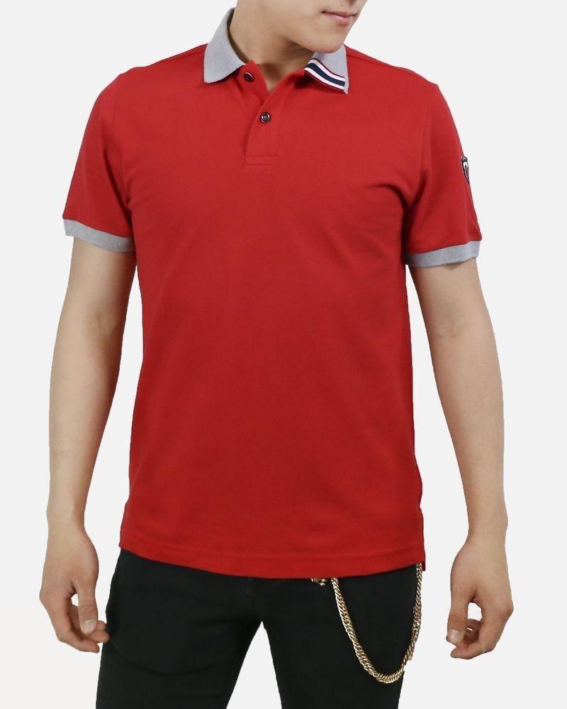 Polo rouge à détail tricolore Rossignol