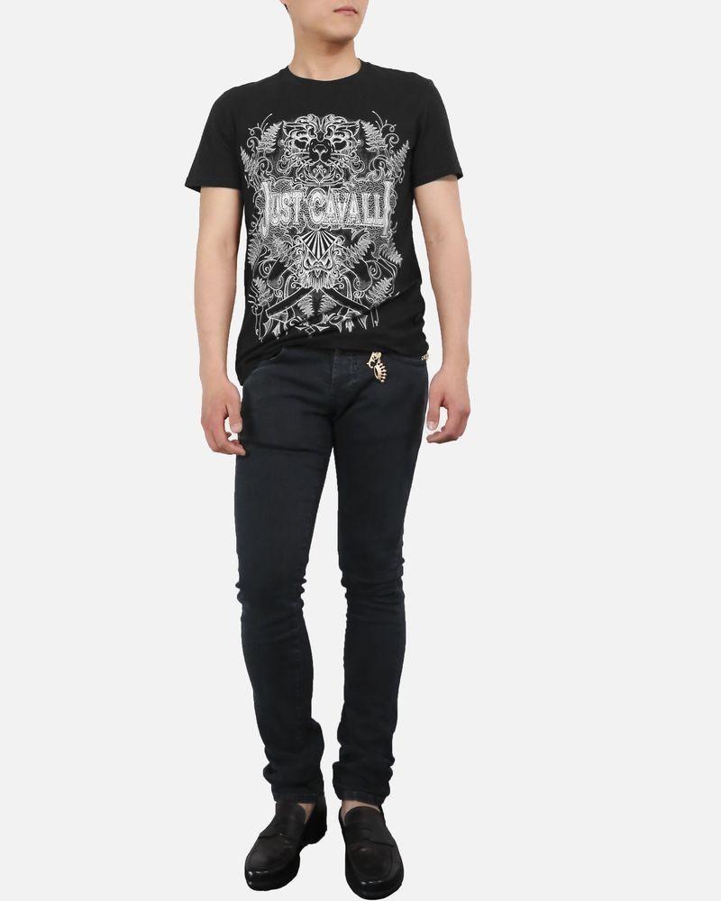 T-Shirt en coton noir à tète de lion Roberto Cavalli
