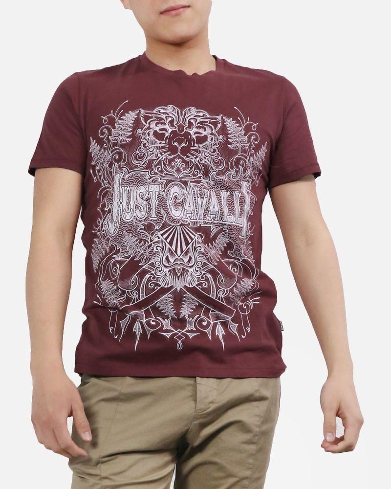T-Shirt en coton bordeaux à tète de lion Roberto Cavalli