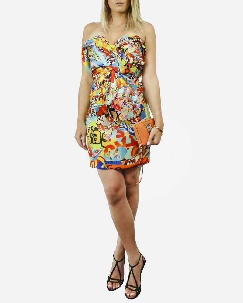 Robe jaune en soie à imprimé publicité Moschino