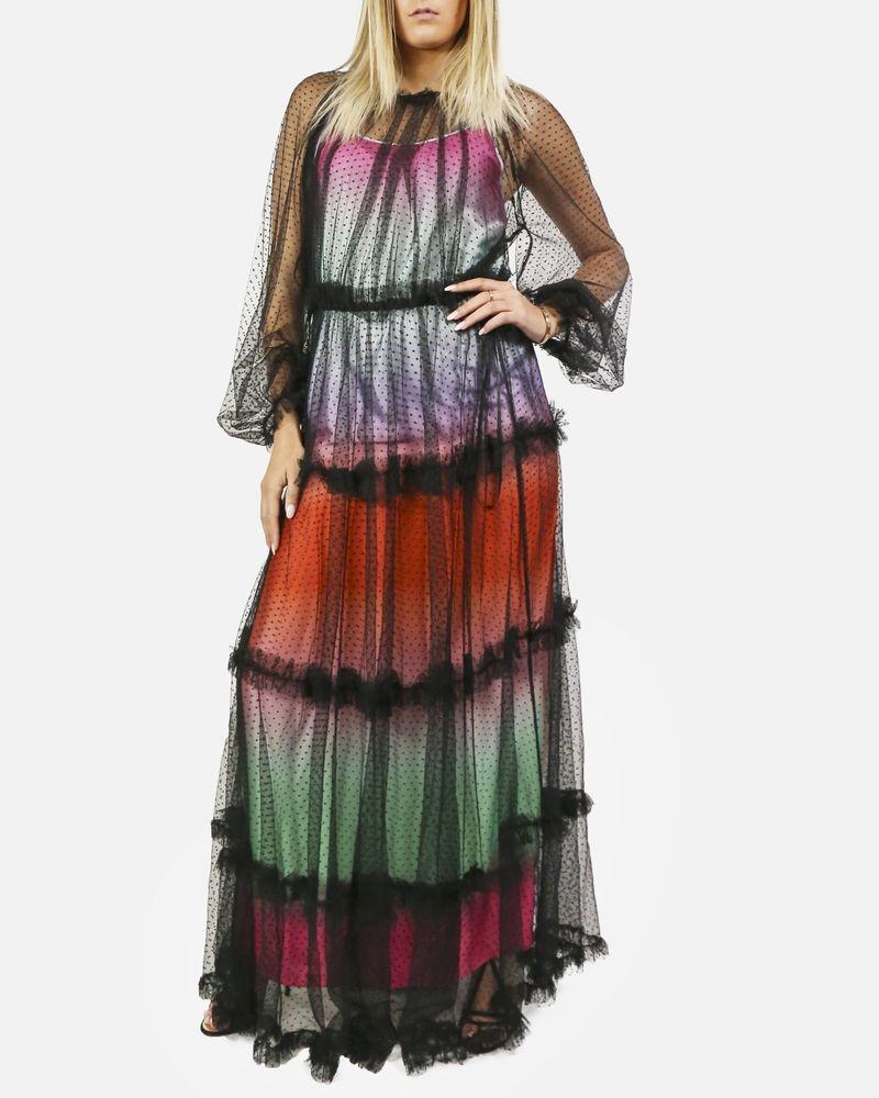 Robe en tulle noir plumetis à doublure multicolore Space Style Concept