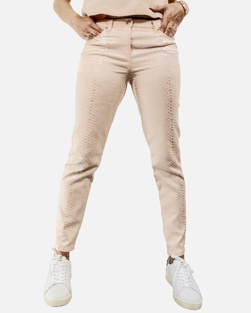 Pantalon skinny rose effet reptile métallisé Maria Grazia Severi