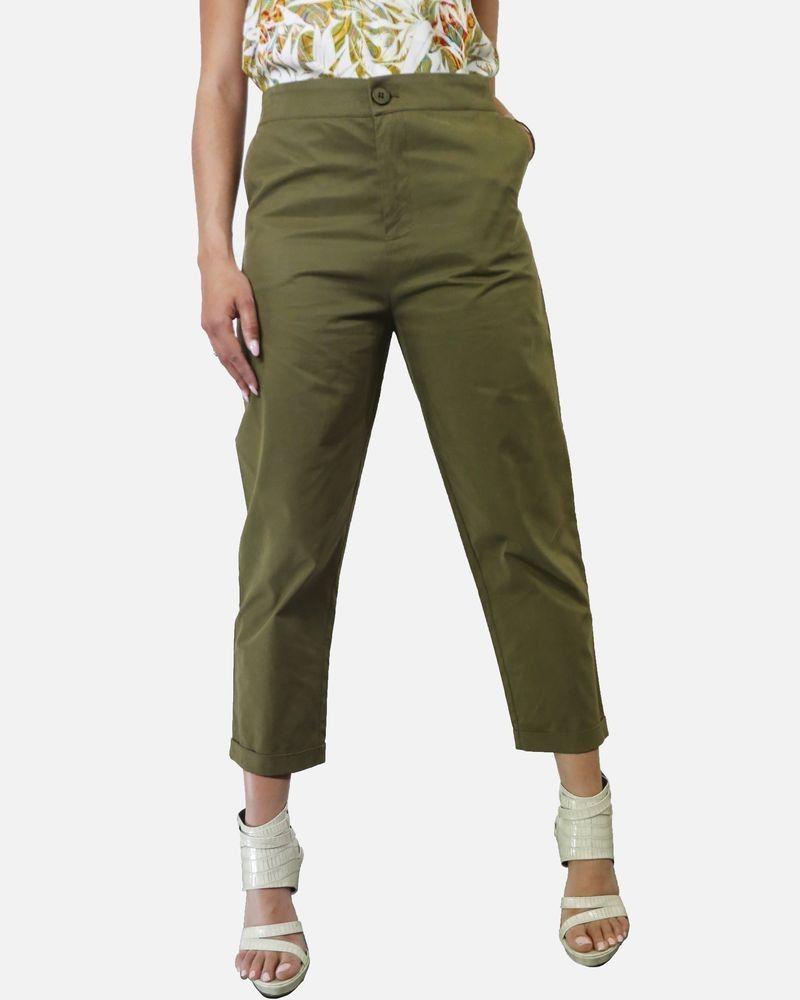 Pantalon chino en coton kaki Isabelle Blanche
