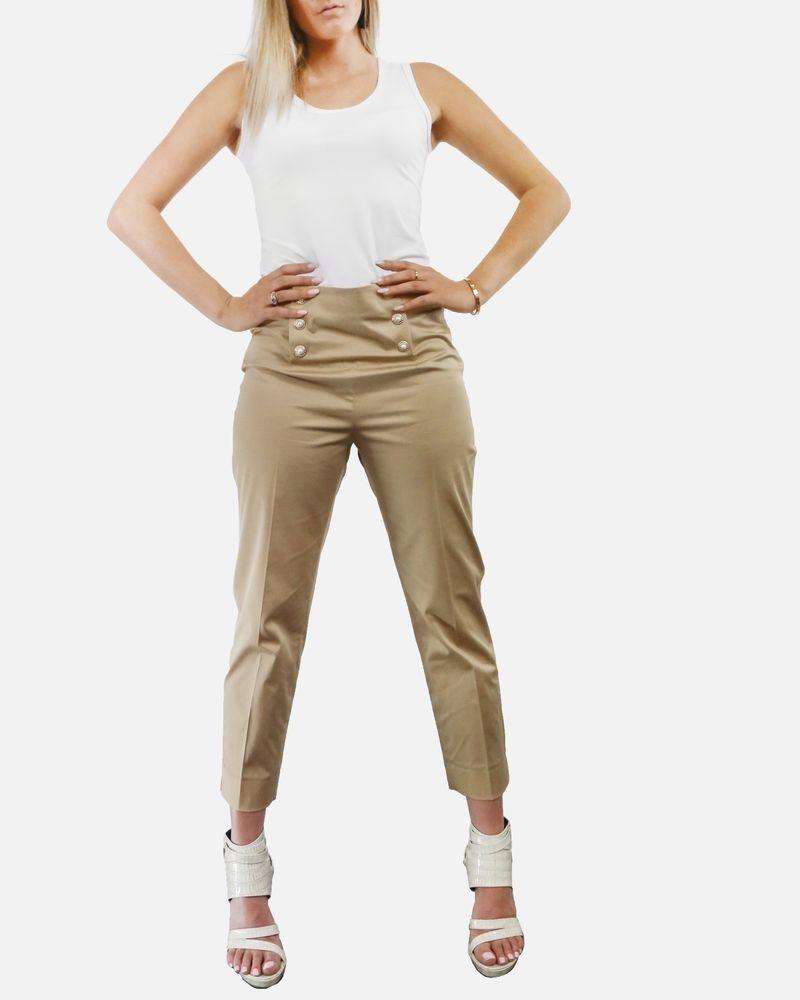 9cb0c2a173c40 Pantalon a bouton fantaisie beige Edward Achour ...