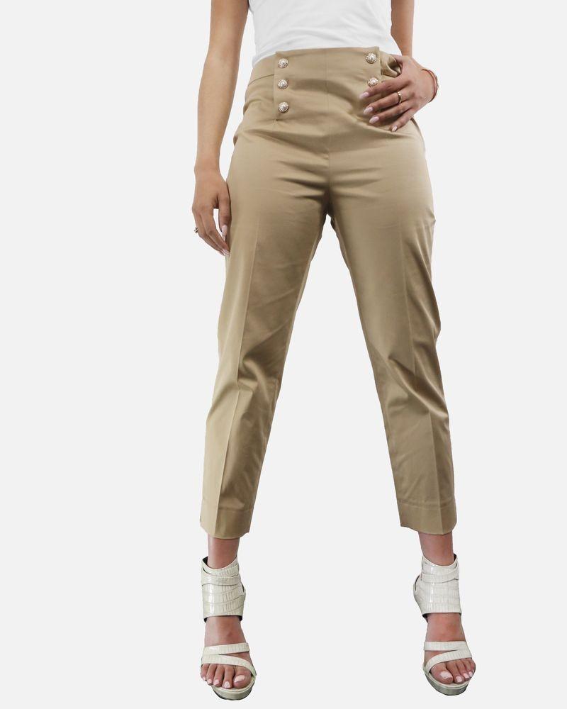 Pantalon a bouton fantaisie beige Edward Achour