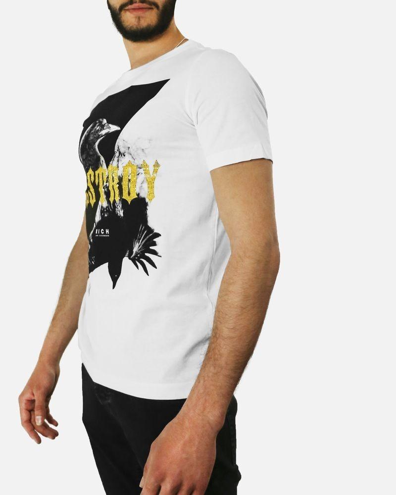 T-Shirt en coton blanc à flocage corbeau John Richmond
