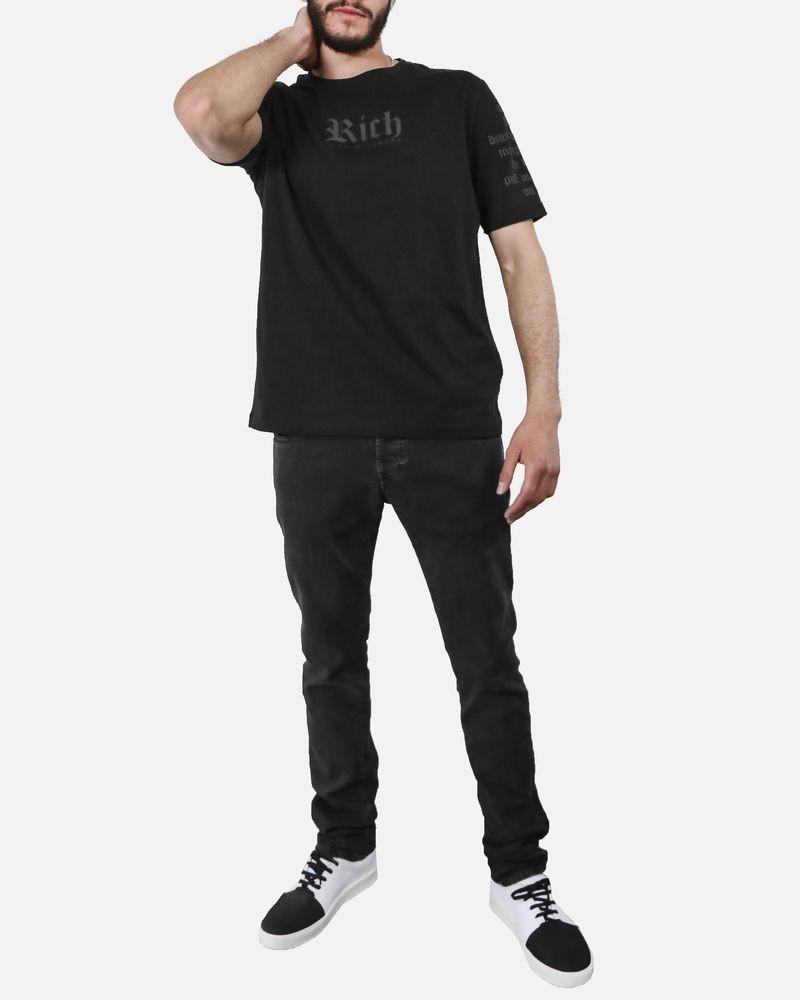 T-Shirt noir écriture manche John Richmond