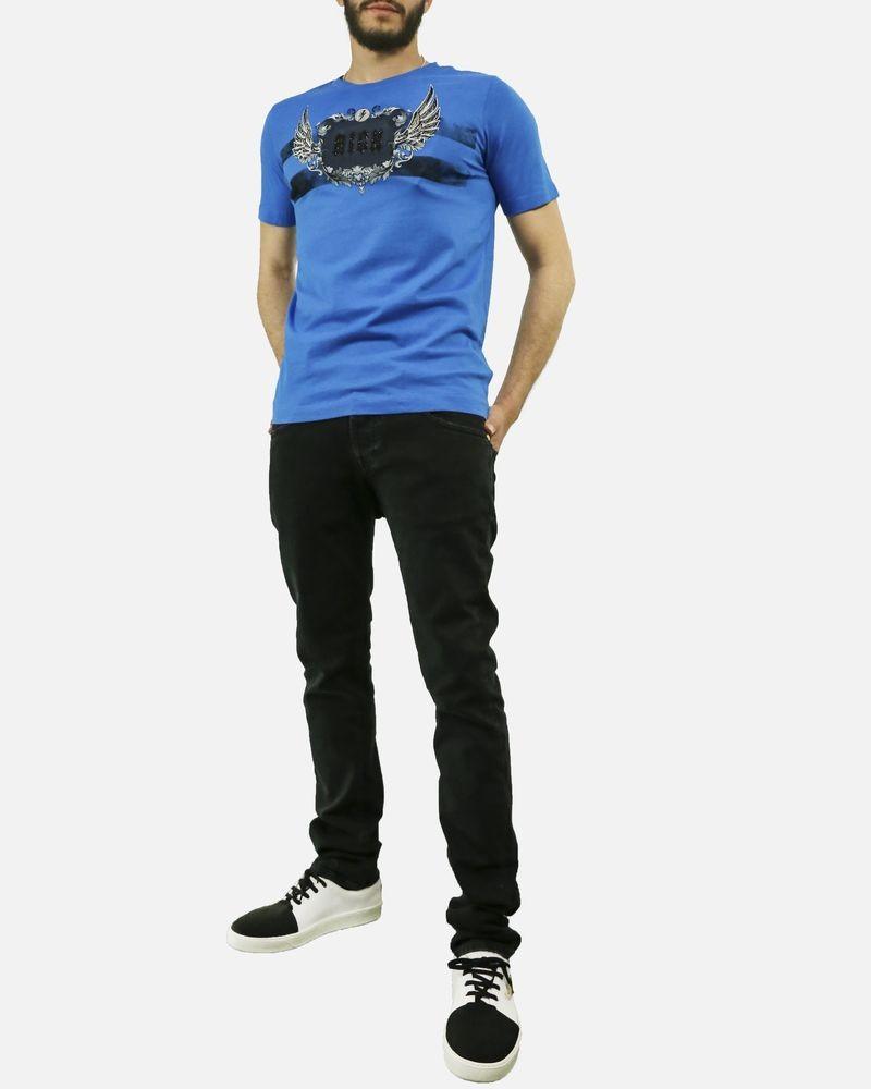 T-Shirt en coton bleu à fantaisie argenté Rich John Richmond