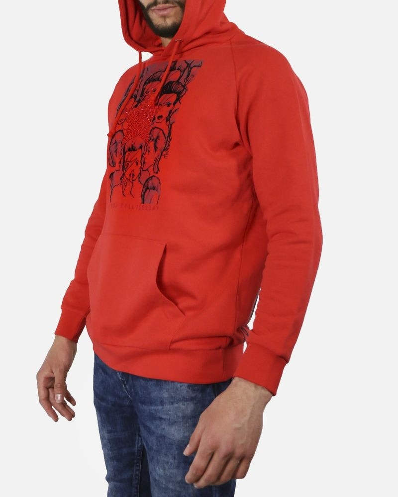 Sweat à capuche en coton rouge John Richmond