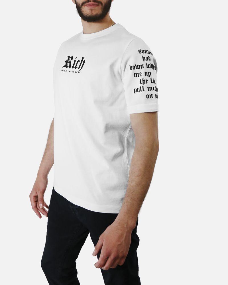 T-Shirt blanc écriture manche John Richmond