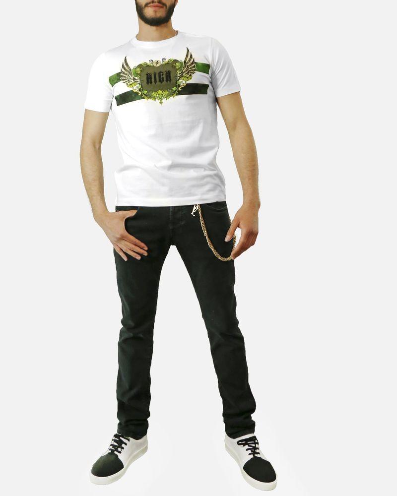 T-Shirt en coton blanc à fantaisie vert Rich John Richmond