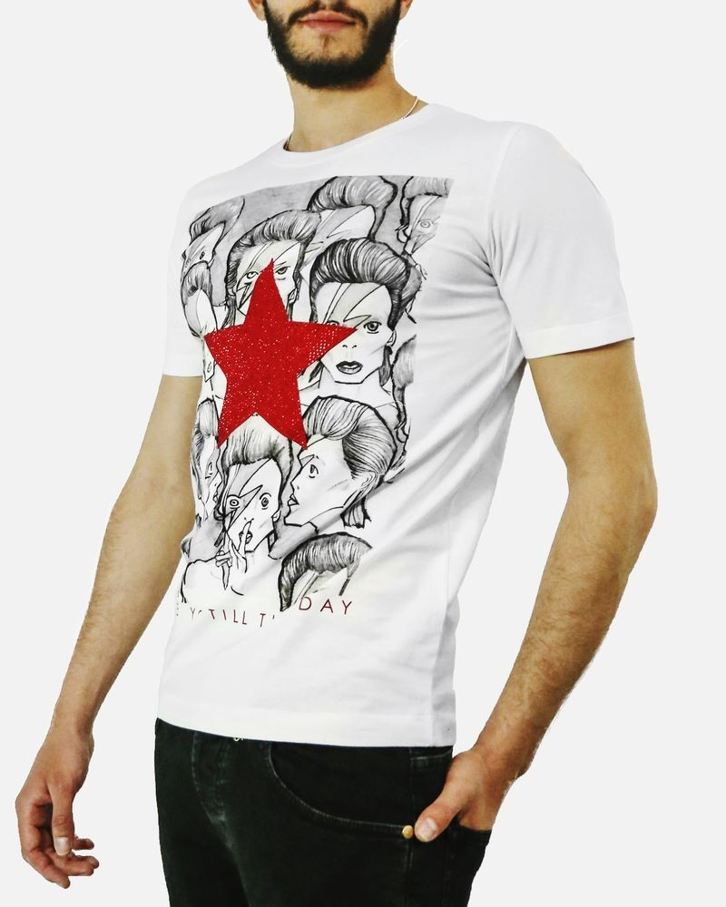 T shirt en coton blanc David Bowie John Richmond