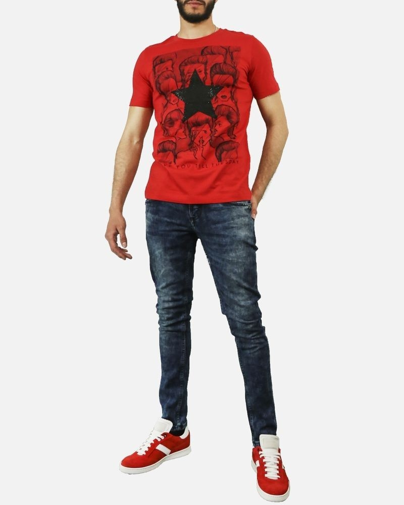 T shirt en coton rouge David Bowie John Richmond