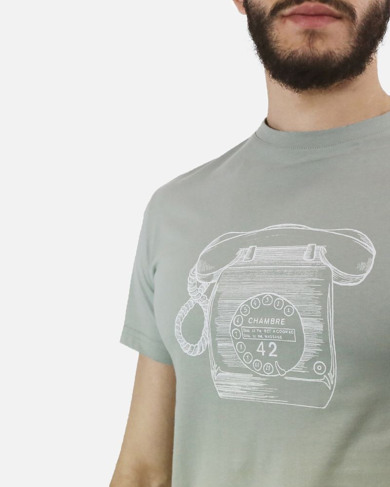 T-Shirt en coton vert d'eau motif téléphone Melinda Gloss