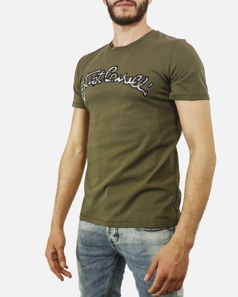 T-Shirt en coton kaki à écriture python Roberto Cavalli