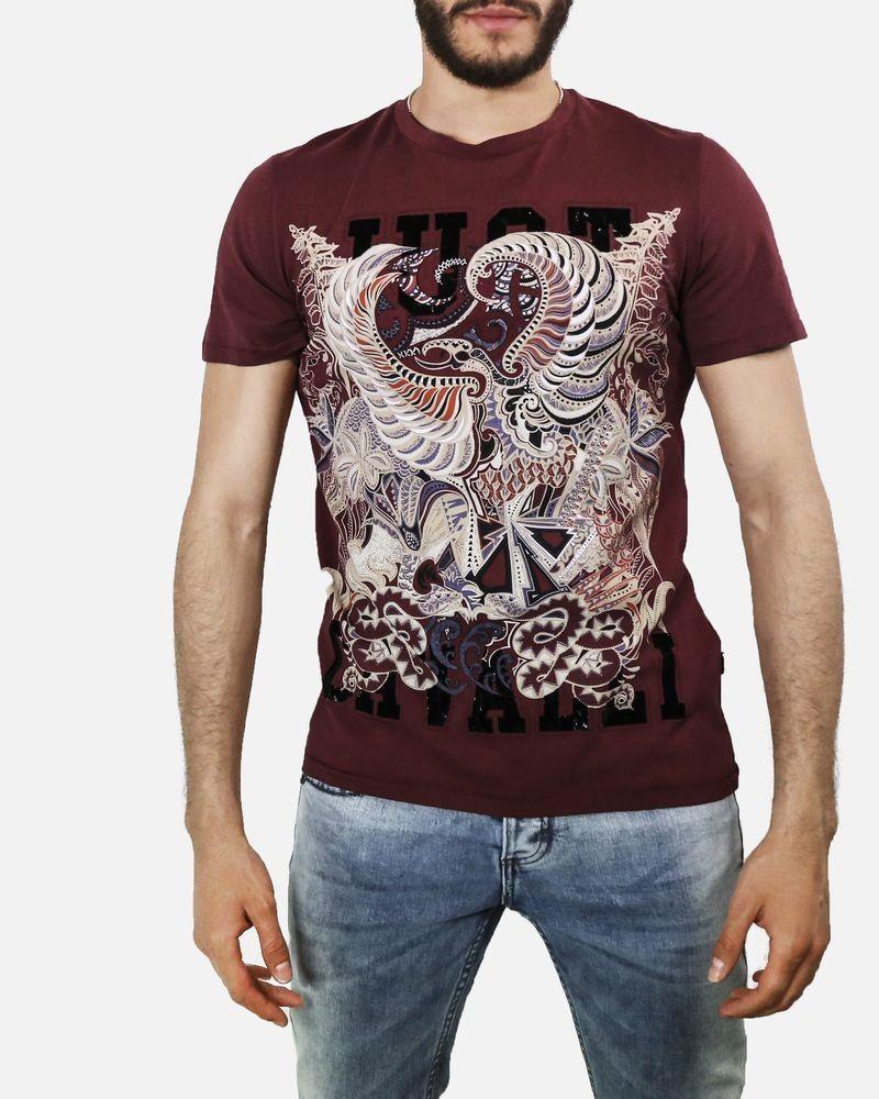 T-Shirt imprimé en coton bordeaux Roberto Cavalli