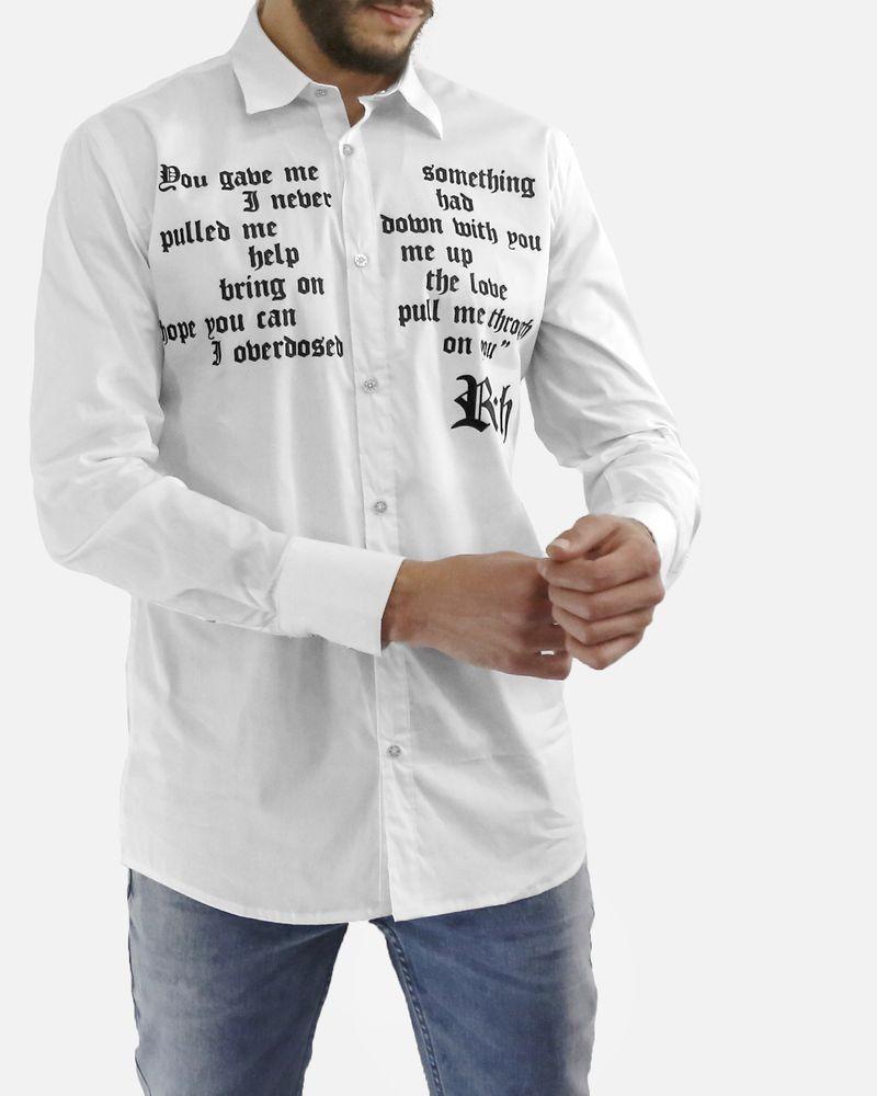 Chemise en coton blanc à caractère gothique John Richmond
