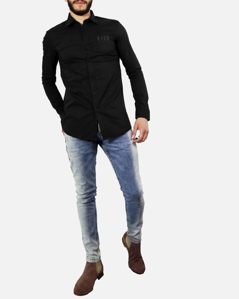 Chemise en coton noir à flocage John Richmond