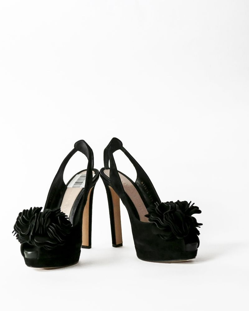 Escarpins à talons en daim noir Alexender Mcqueen