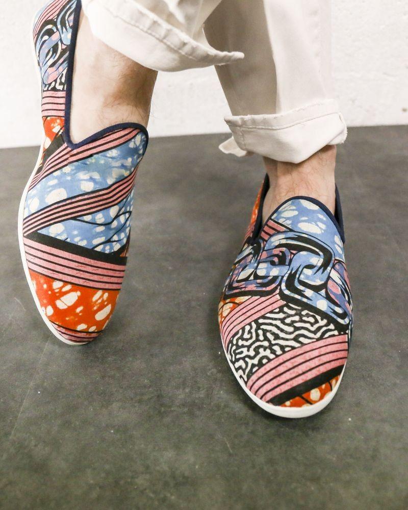 Slippers bleu à motifs Galet
