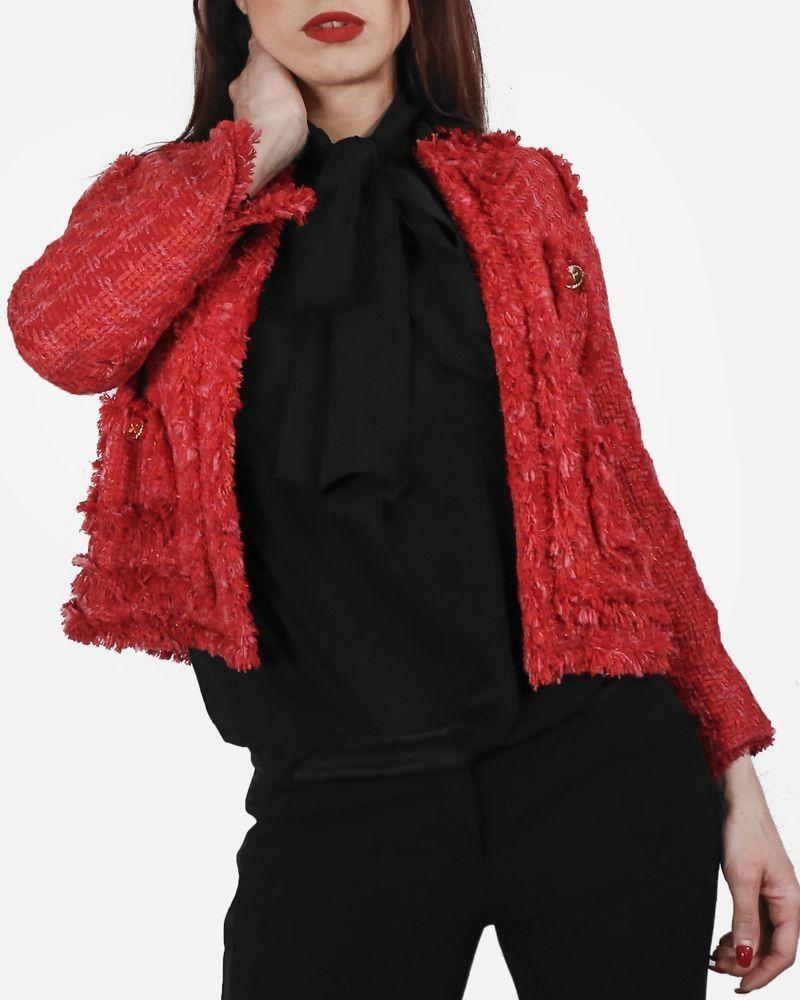 Veste en tweed rouge Edward Achour