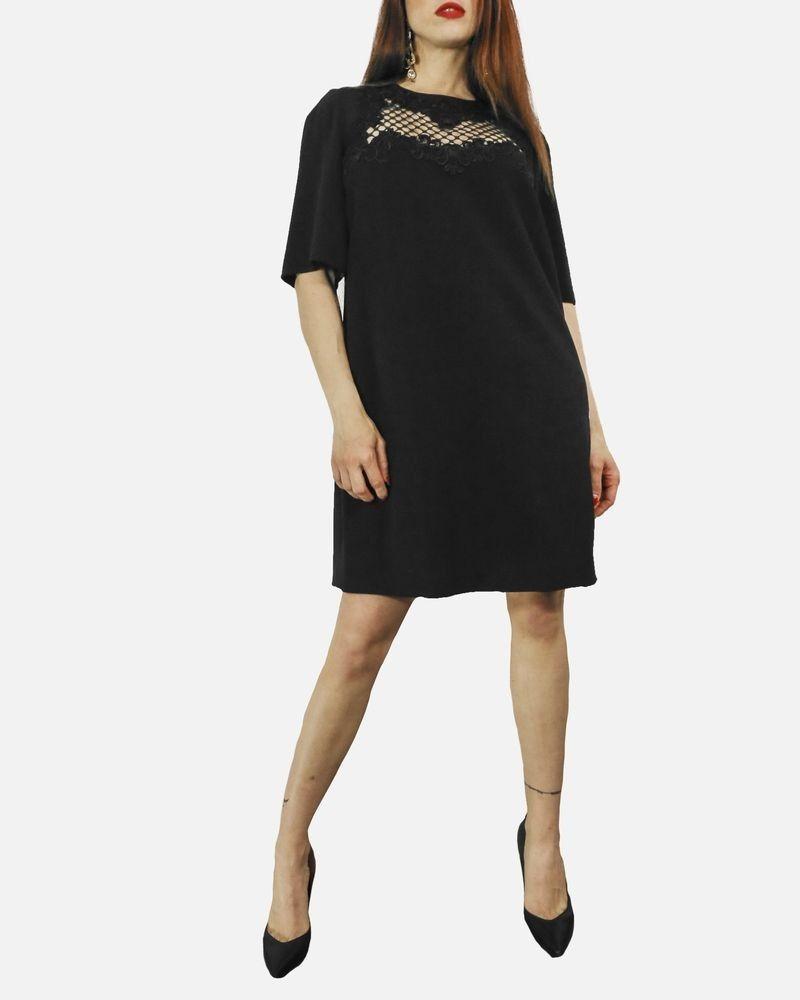 Robe à empiècement guipure noir Dolce & Gabbana