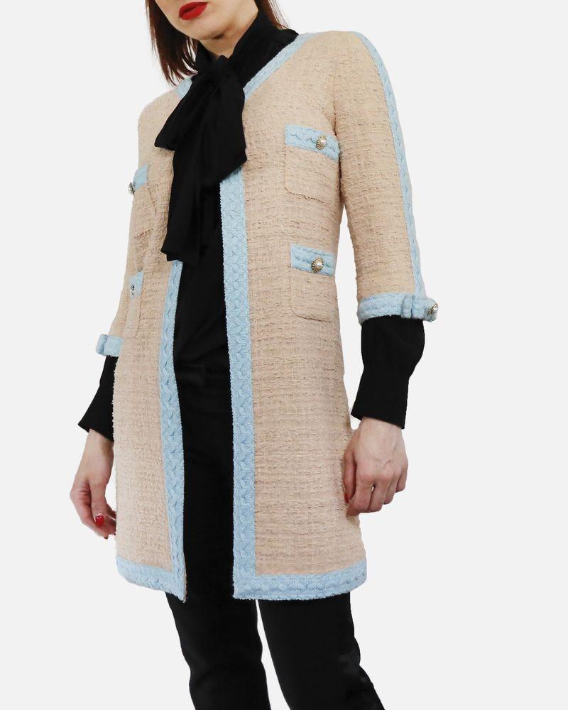 Manteaux en tweed beige à galon bleu Edward Achour