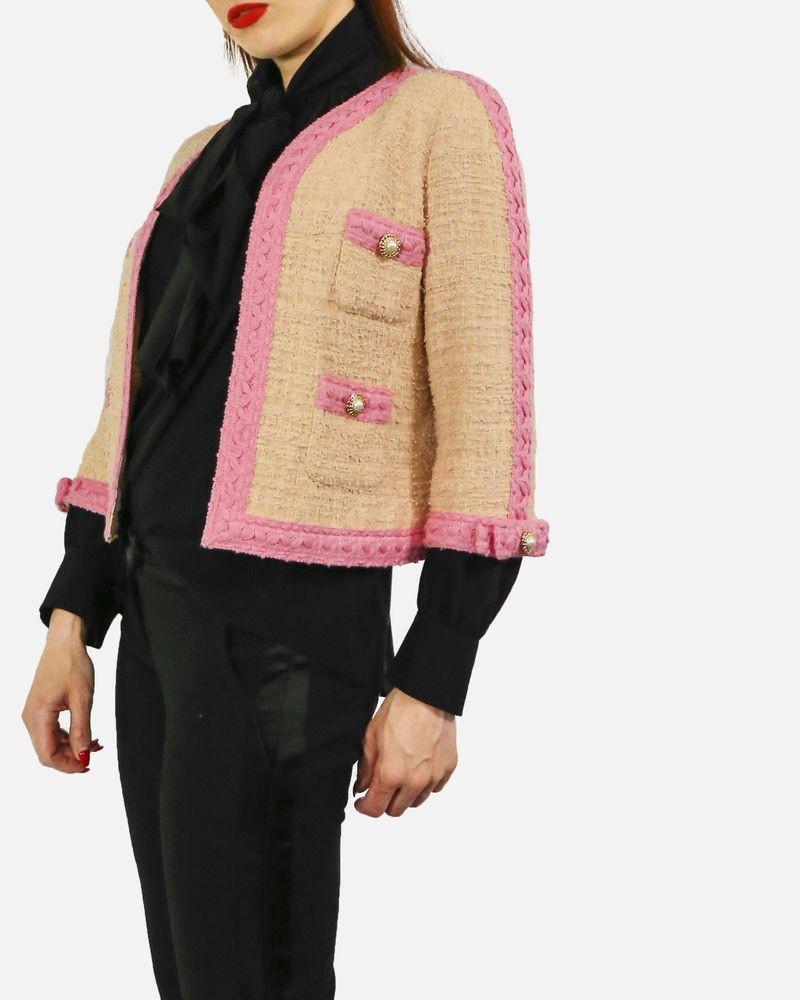 Veste en tweed beige à galon brodé rose Edward Achour