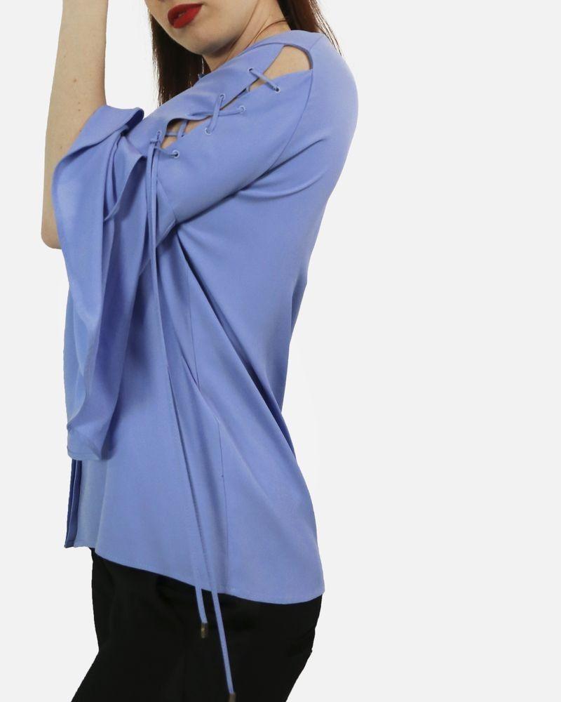 Chemise lacée bleue en soie Space Style Concept