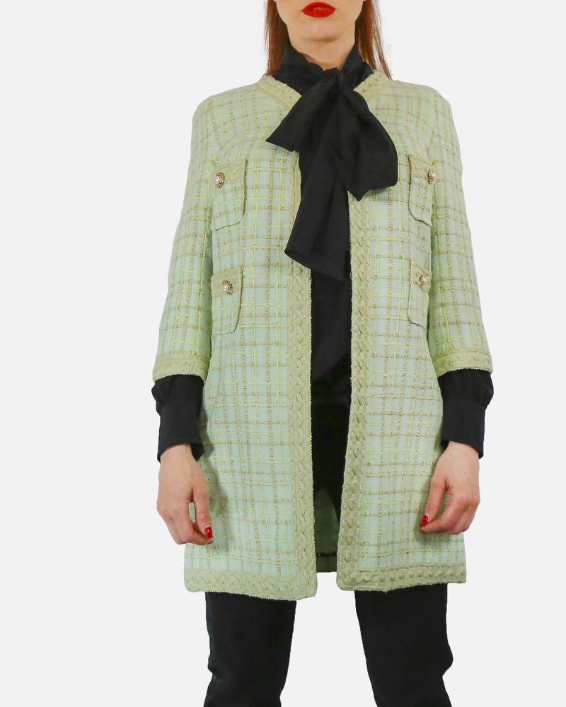 Manteau en tweed vert pistache Edward Achour