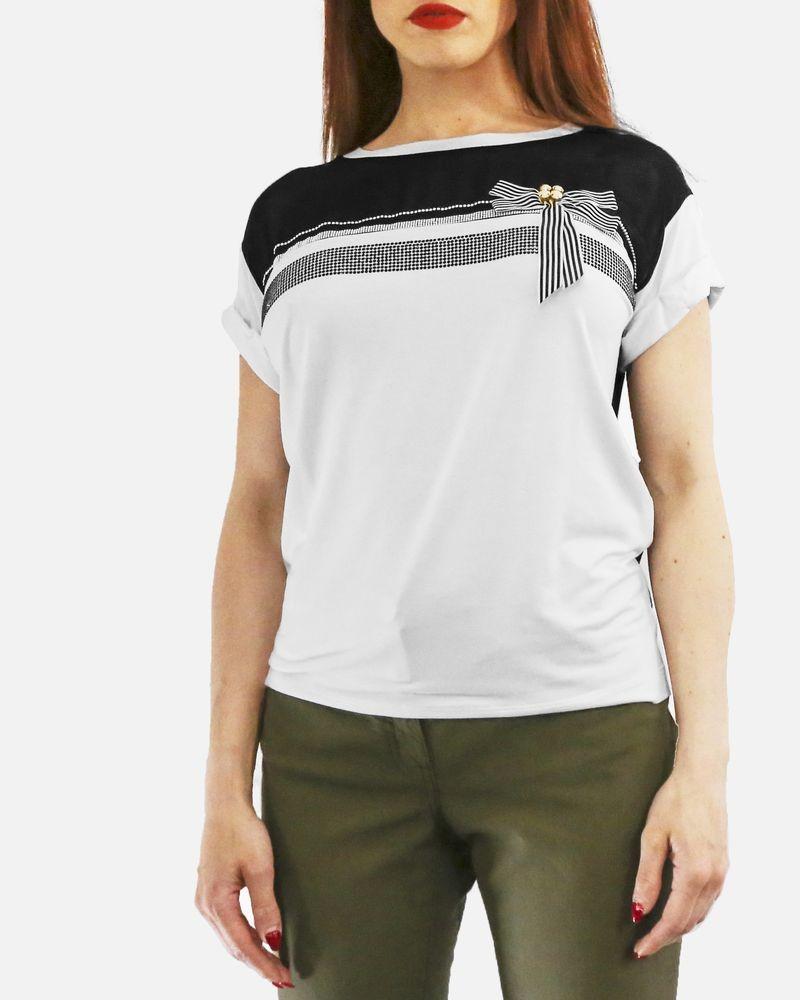 T-shirt blanc à nœud Maria Grazia Severi