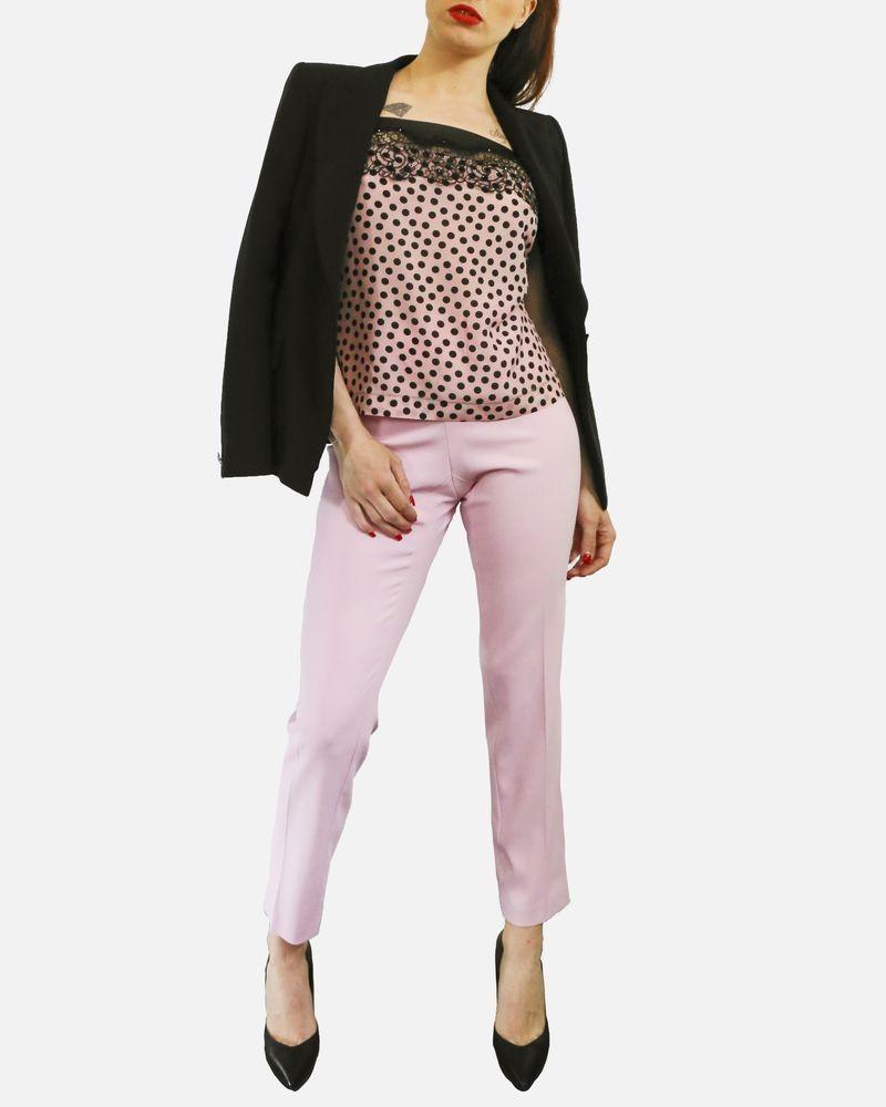 Pantalon à pince en crêpe rose Maria Grazia Severi