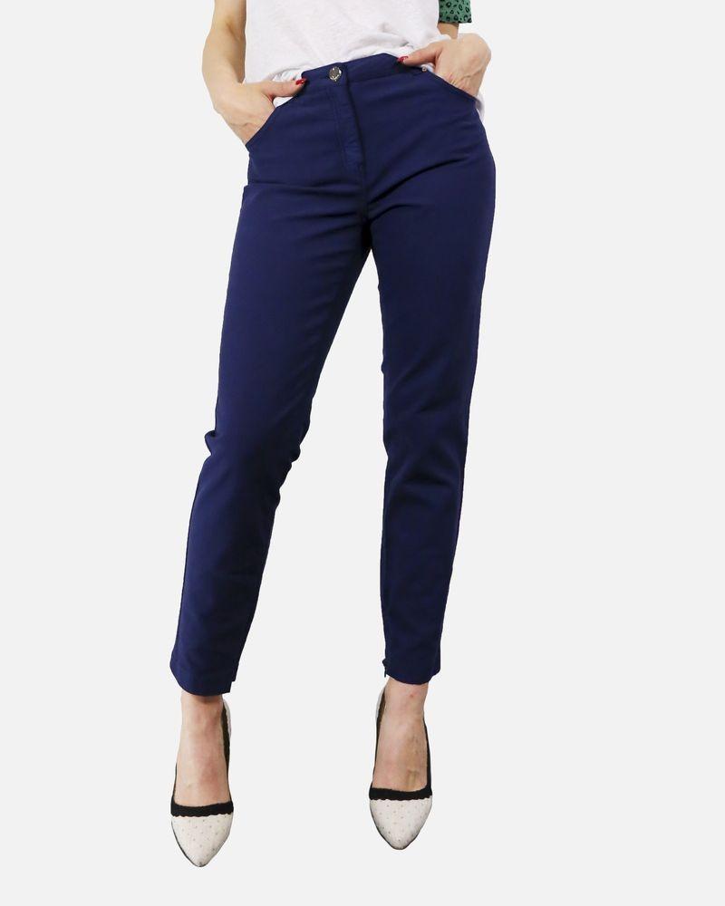 Pantalon skinny en coton bleu Maria Grazia Severi