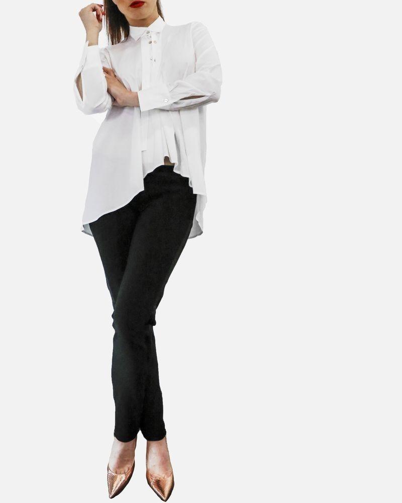 Chemise à lavallières boutonnées en coton blanc Balossa