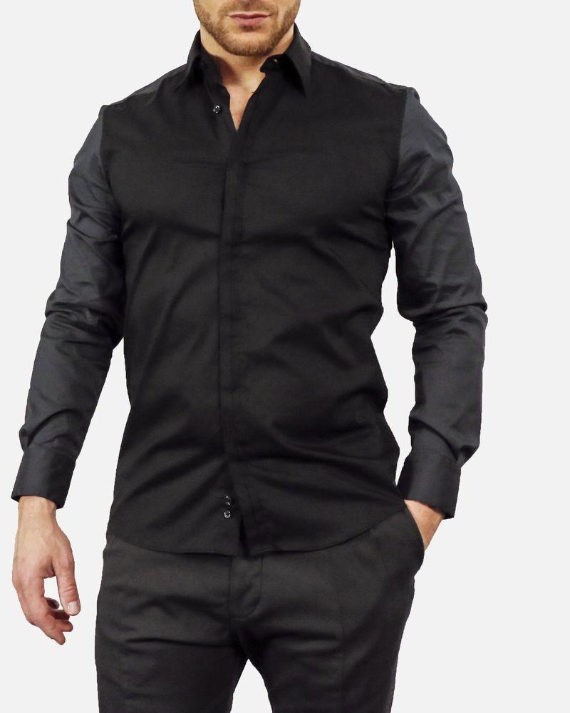 Chemise en coton noire Manostorti