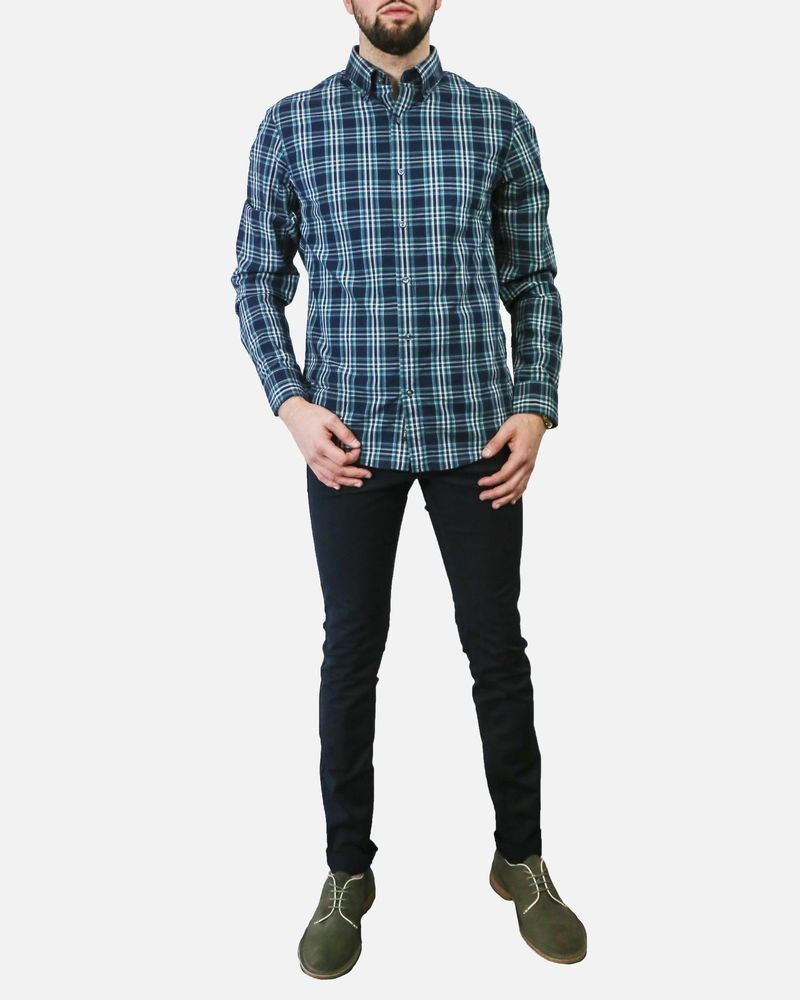 Chemise en coton bleue à carreaux vert Michael Kors